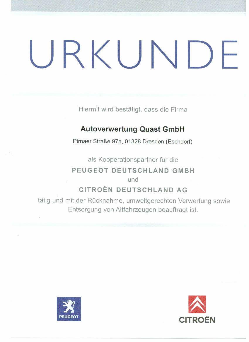 Citroen Peugeot Zertifikat der Autoverwertung Quast