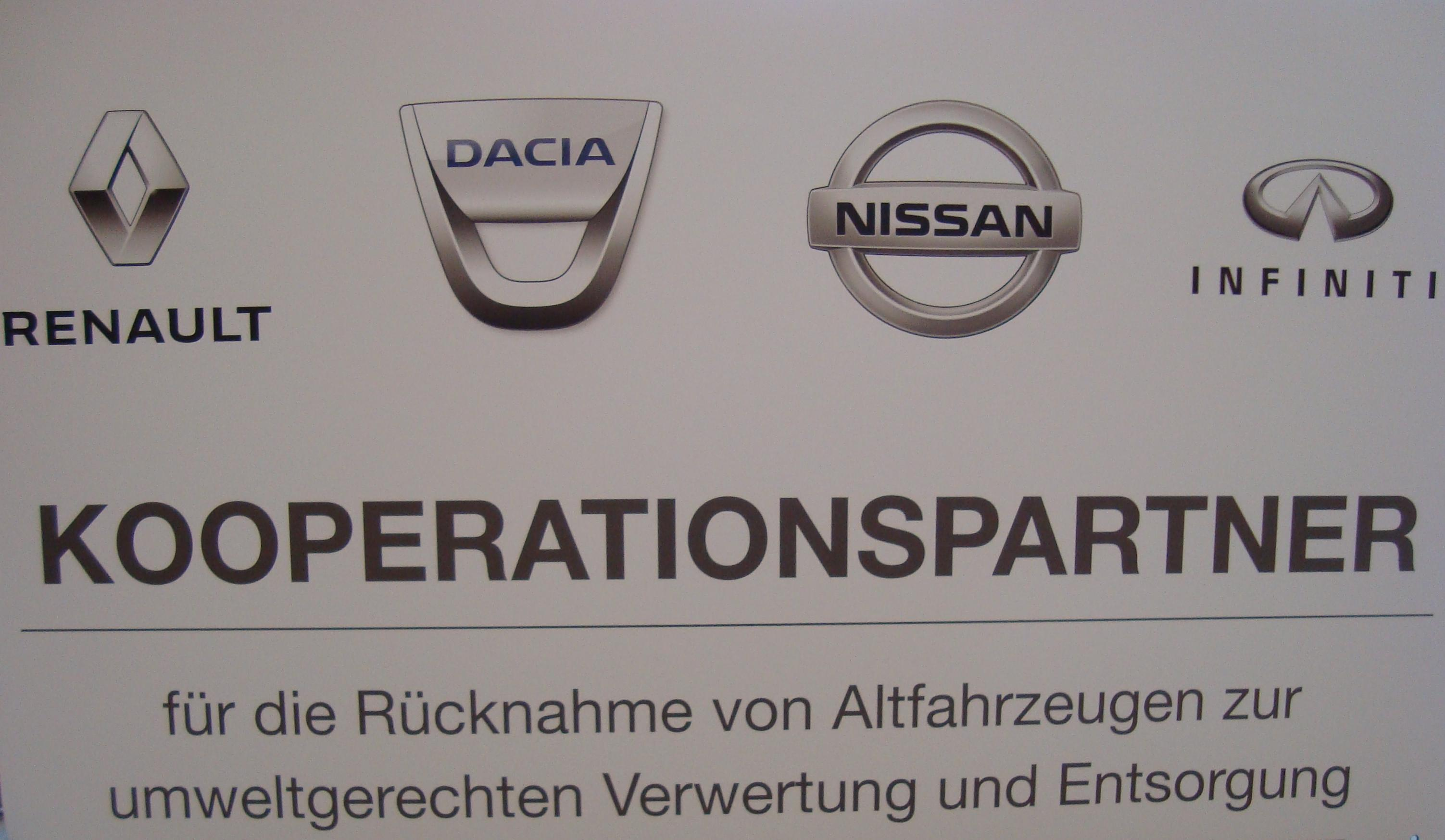 Renault Dacia Nissan Infiniti Kooperationspartner der Autoverwertung Quast