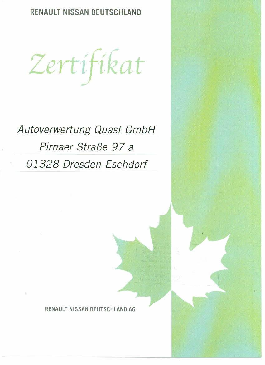 Renault Nissan Zertifikat der Autoverwertung Quast